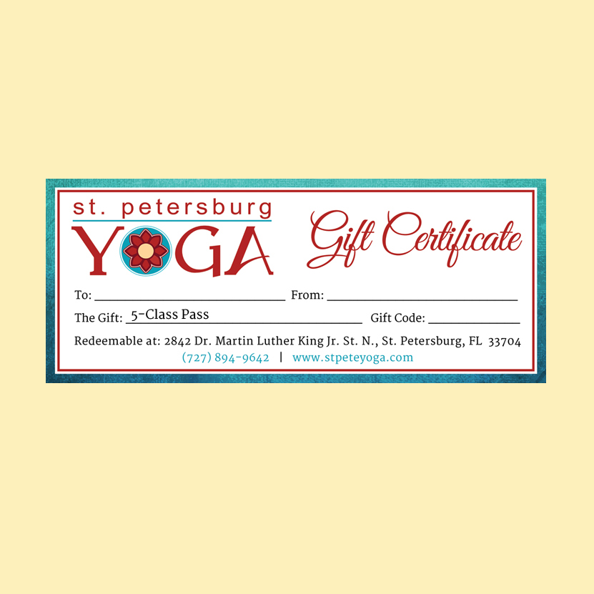 5 class pass gift certificate to st petersburg yoga st for Yoga gift certificate template free